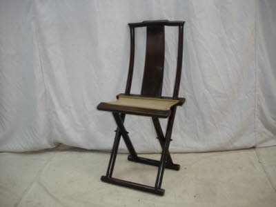 Antique Chinese Elmwood folding side chair. - Chinese Antique Chairs, Benches, Antique Chinese Furniture
