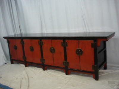 Antique Chinese red & black lacquer 8-door side cabinet. - Chinese Antique Tables, Sideboards, Coffer, Antique Chinese Furniture