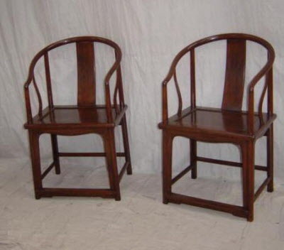 Antique Chinese Furniture   Walnut Horseshoe Armchairs.