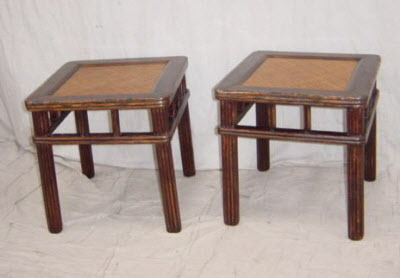 antique chinese furniture - Pair of mid-19th century elmwood stools. - Chinese Antique Chairs, Benches, Antique Chinese Furniture
