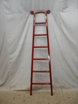 Antique Chinese red lacquer ladder.