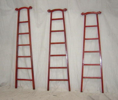 Antique Chinese red lacquer ladders