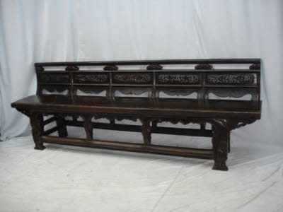 Antique Chinese Elwmood long bench