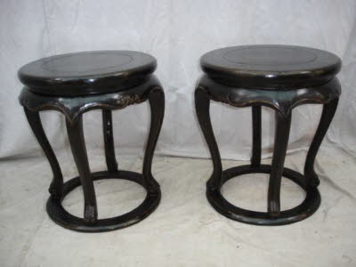 Pair of antique Chinese elmwood drum stools