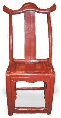 Antique Chinese red lacquer cowhorn chair
