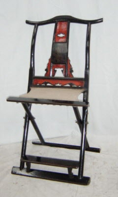 Antique Chinese lacquer folding side chair