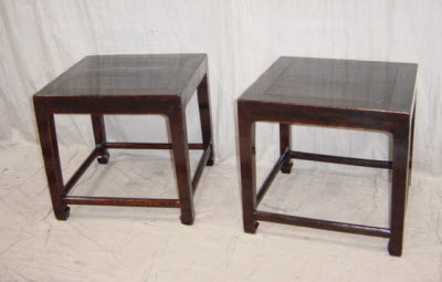 Pair of  antique Chinese elmwood stools