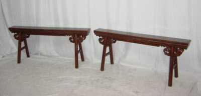 Pair of antique Chinese long and narrow elmwood benchs
