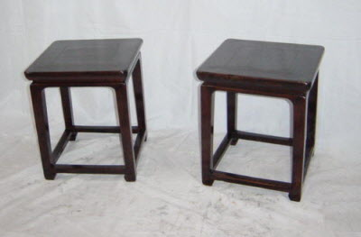 Pair of  antique Chinese elmwood stools