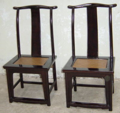 Pair of antique Chinese elmwood side chairs