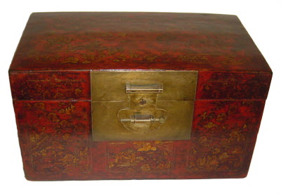 Antique Chinese gilt decorated leather box