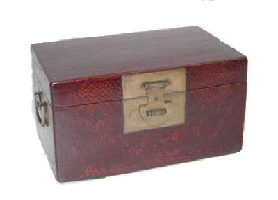 Antique Chinese Leather document box with painting