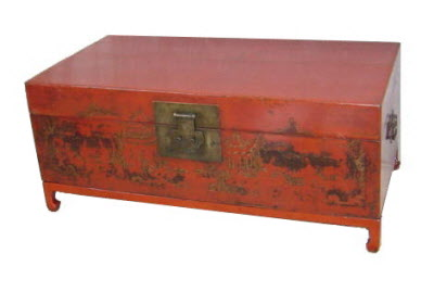 Antique Chinese Red lacquer elmwood trunk