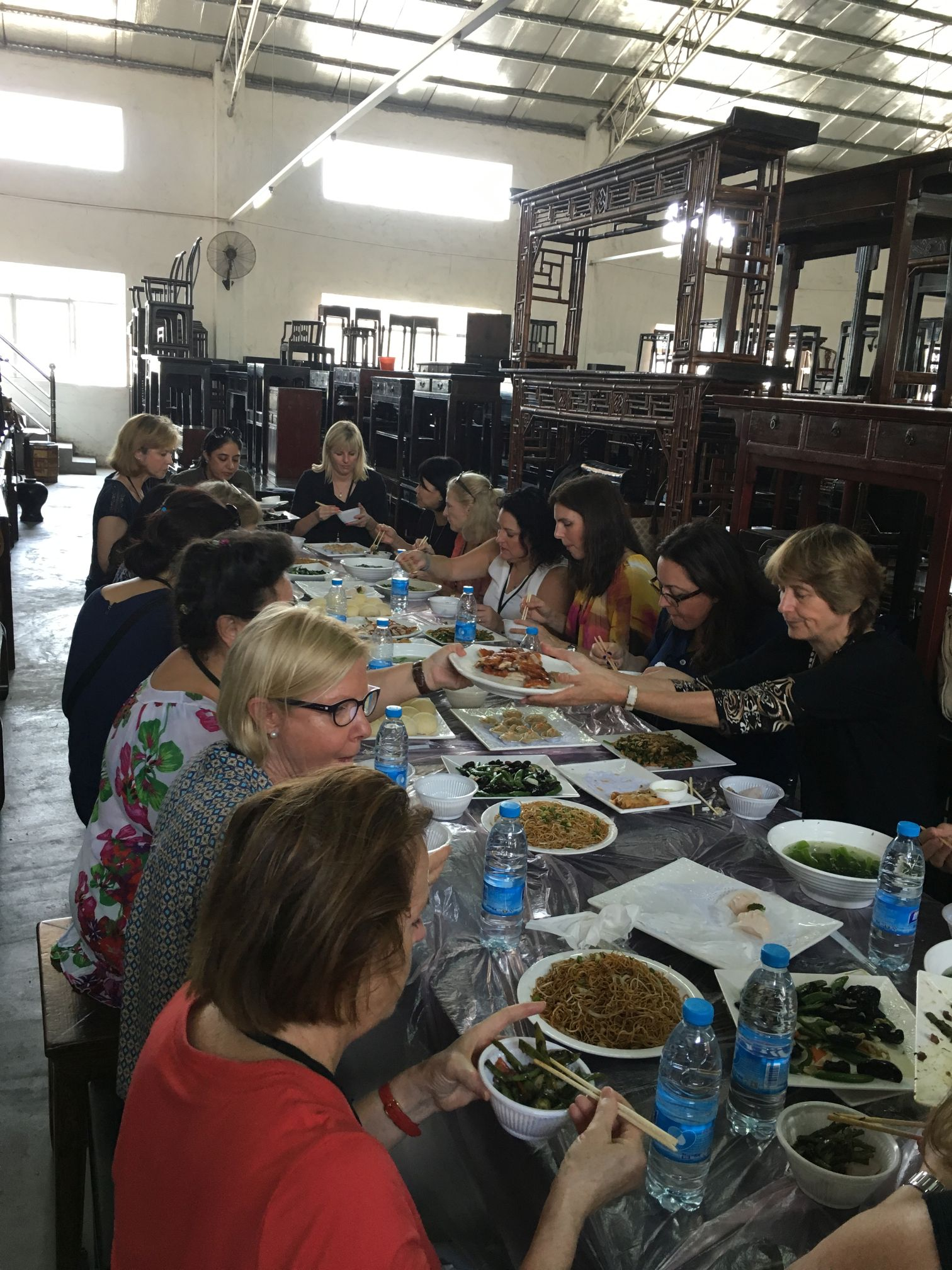 American Women Association of Hong Kong antique Chinese furniture warehouse lunch