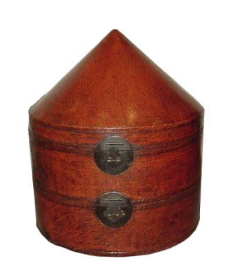 Antique Chinese two-tier imperial leather hatbox