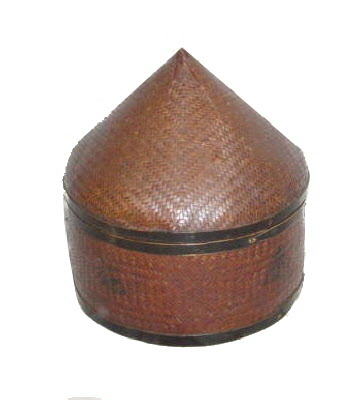 Chinese antique bamboo hatbox