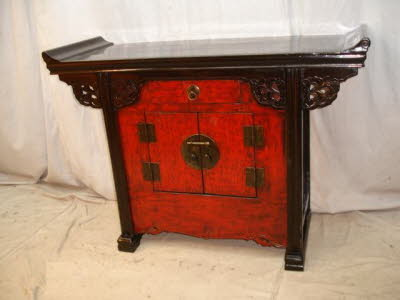 Antique Chinese lacquer altar coffer