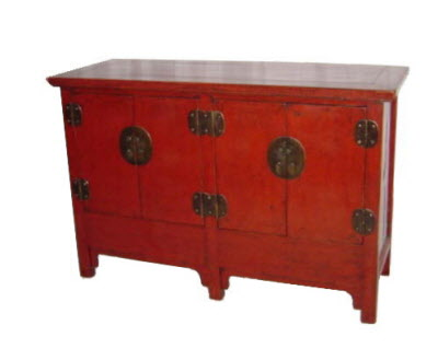 Antique Chinese lacquer four door sideboard