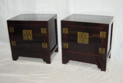Pair of antique Chinese bedside cabinets