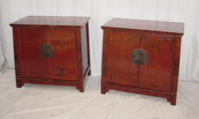 Pair of antique Chinese lacquer bedside cabinets.