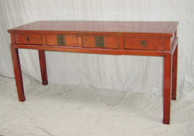 Antique Chinese lacquer 4-drawer desk
