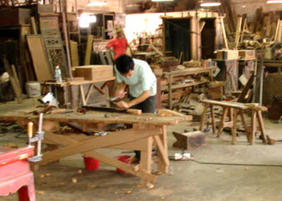 Antique Chinese furniture restoration workshop