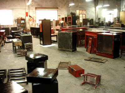 Antique Chinese furniture restoration workshop - Art Treasures Gallery Antiques Warehouse, Zhuhai China