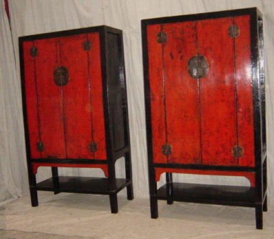 Pair ... - Antique Chinese Wedding Cabinets, Antique Chinese Marriage Cabinets